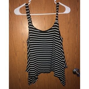 Flowy Black and White Crop Tank Top